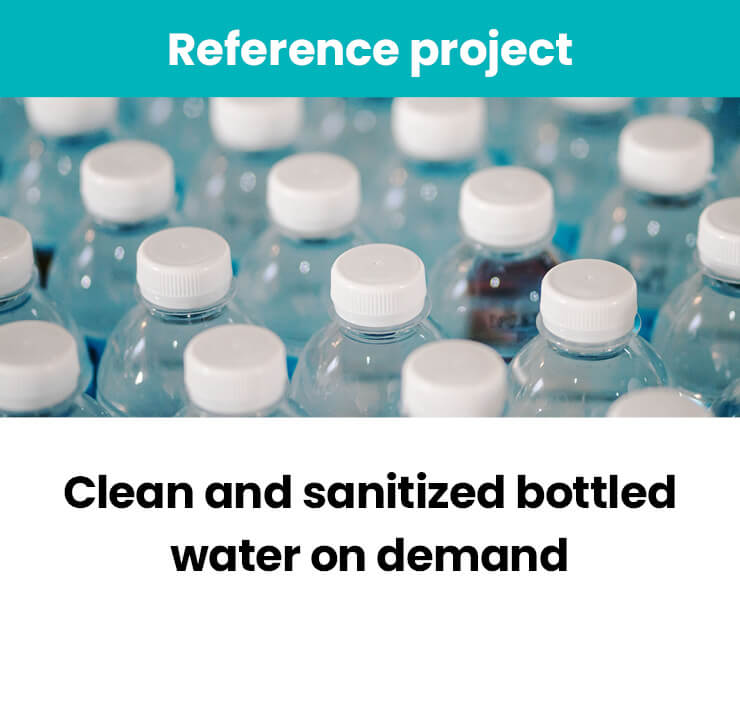 Clean and sanitized bottled water on demand