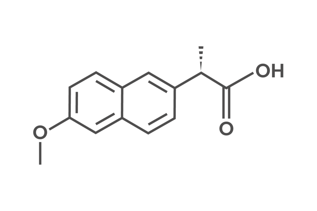 Skeletal formula of naproxen