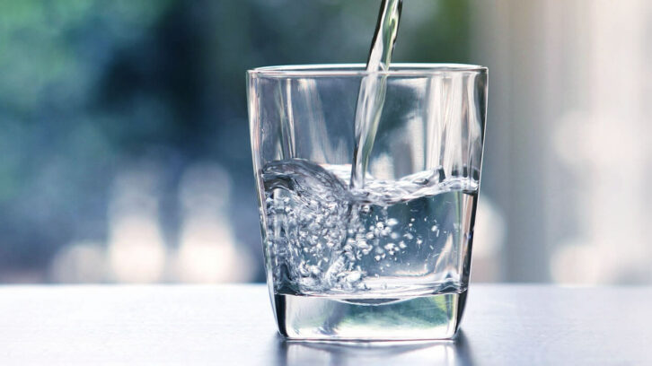 Glass with drinking water