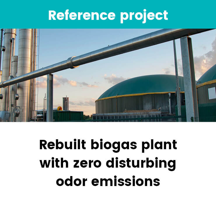 Biogas plant with zero disturbing odor emissions