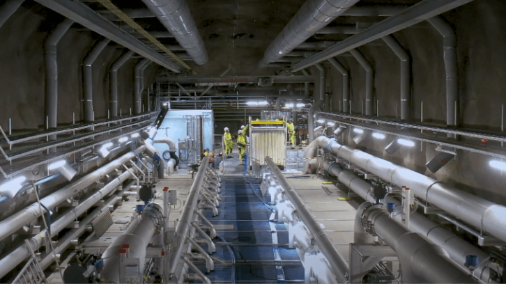 Interior of Henriksdal wastewater treatment plant